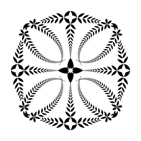 Laurel wreath tattoo. Cross, sun ornament. Black sign on white background. Defense, harmony, glory symbol. Vector