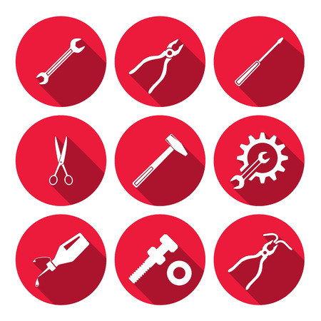 Tools icons set. Glue, pliers, tongs, wrench key, cogwheel, hammer, screw bolt, nut, scissors. Repair fix tool symbols. Round red signs with long shadow. Vector