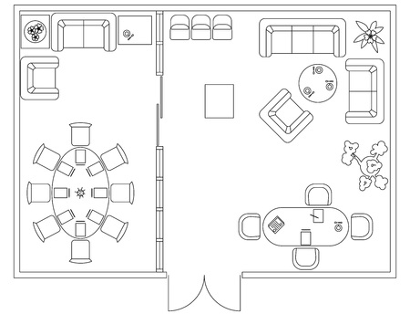 Architectural set of furniture. Design elements for floor plan, premises. Thin lines icons. Office equipment. Tables, sofa, computer people flowers. Standard size. Vector Векторная Иллюстрация
