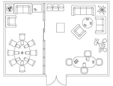 Architectural set van meubilair. Design elementen voor plattegrond, lokalen. Dunne lijnen pictogrammen. Kantoorartikelen. Tafels, sofa, computer mensen bloemen. Standaard maat. Vector Vector Illustratie
