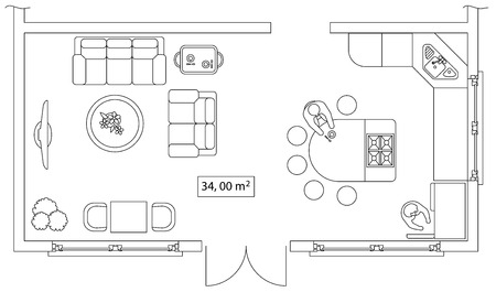 table sizes: Architectural set of furniture. Interiors elements for house, cottage, office, floor plan, premises. Thin lines icons. Equipment, tables, sofa, people, flowers. Standard size. Vector