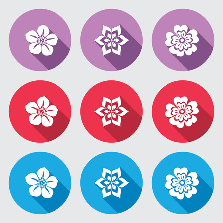Flower icon set. Petunia, daisy, orchid, primula. Floral symbol. White sign on round red, blue, lilac flat buttons with long shadow. Vector Ilustração