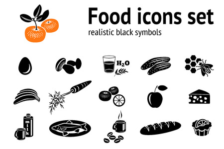 provision: Food icons set. Fish, cake, mushrooms, honey, bee, coffee, mandarin, cucumber, egg, milk, cheese, carrot, bread, banana, apple. Provision symbol. Vector
