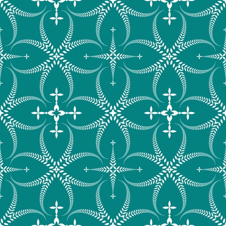 honouring: Religion seamless pattern. Laurel wreath, lace view texture with cross. Ceremonial, funeral background. Swirl stylized ornament. Turquoise, white colored. Vector