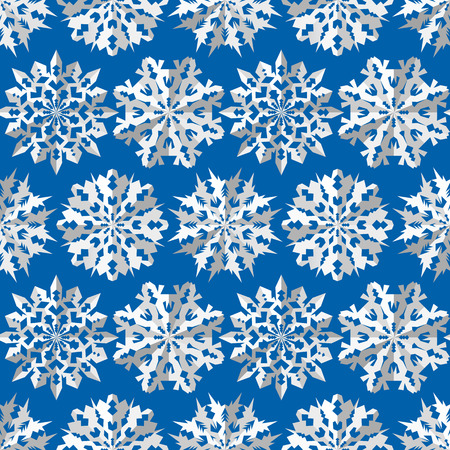 Seamless Christmas Pattern Origami Snowflakes Signs Paper White