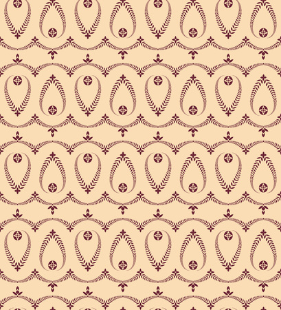 honouring: Religion seamless pattern. Laurel wreath, lace view texture with cross. Ceremonial, funeral background. Swirl stylized ornament. Vinous, beige colored. Vector