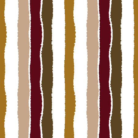 wrinkly: Striped seamless pattern. Vertical wide lines with torn paper effect. Shred edge band background. Brown, sepia, white contrast colors. Vector