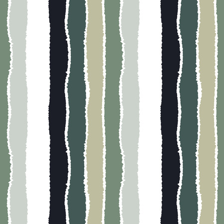 torn edge: Striped seamless pattern. Vertical wide lines with torn paper effect. Shred edge band background. Gray, white, olive contrast colors. Vector