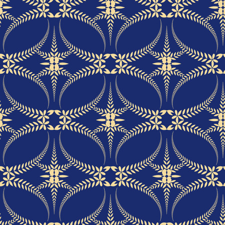 honouring: Religion seamless pattern. Laurel wreath, lace view texture with cross. Ceremonial, funeral background. Swirl stylized ornament. Blue, yellow colored. Vector Illustration