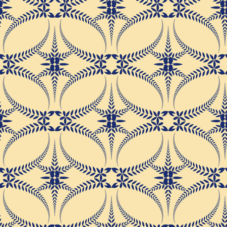 Religion seamless pattern. Laurel wreath, lace view texture with cross. Ceremonial, funeral background. Swirl stylized ornament. Blue, yellow colored. Vector Illustration