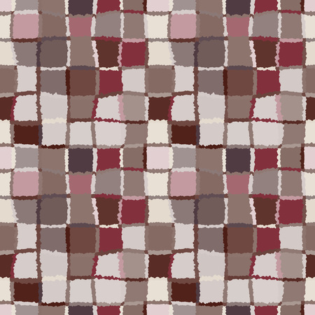 brindled: Seamless geometric mosaic checked pattern. Background of woven rectangles and squares. Patchwork, ceramic, tile texture. Cold, pastel, variegated, brown, rose, gray colors. Winter theme. Vector