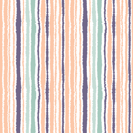 torn edge: Seamless striped pattern. Vertical narrow lines. Torn paper, shred edge texture. Orange, blue, white light soft colored background. Vector