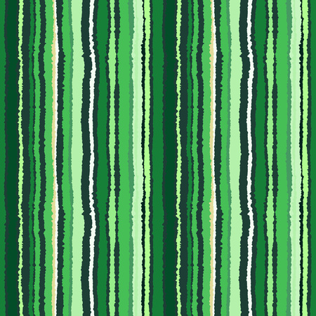 wrinkly: Seamless strip pattern. Vertical lines with shred edge, torn paper effect. Green, white, gray contrast colored background. Green tree theme. Vector