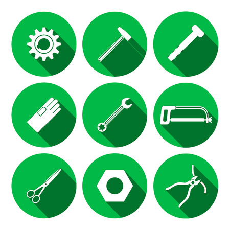 rubber gloves: Tools icons set. Saw, tongs, wrench key, cogwheel, hammer, rubber gloves, screw bolt, nut, scissors. Repair fix symbols. Round green signs with long shadow. Vector
