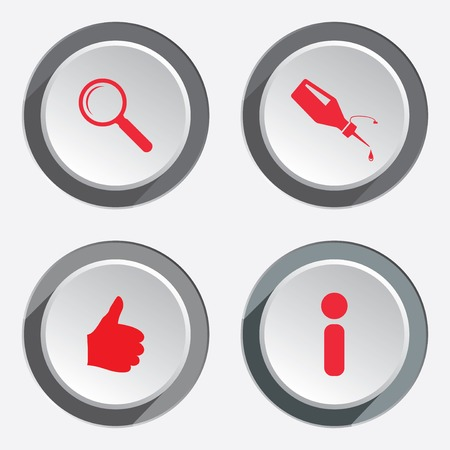 like hand: WEB info icons. Kursor, like, hand,  target, repair fix ,thumb up, good, zoom symbol. Red sign on round three-dimensional white-gray button. Vector