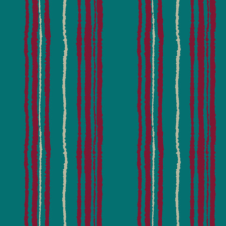 Seamless strip pattern. Vertical lines with torn paper effect. Shred edge background. Cold, contrast, pastel, turquoise, vinous, dark red, gray colors. Winter theme background. Vector