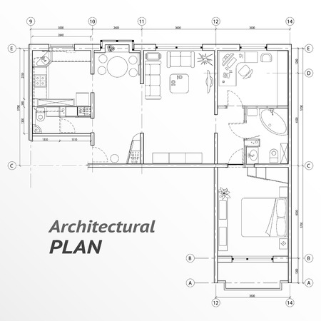 Architectural set of furniture on apartment plan with sizes. Interior design elements for house, kitchen, bedroom, bath-room. Thin lines icons. Home, hotel equipment. Vector 向量圖像