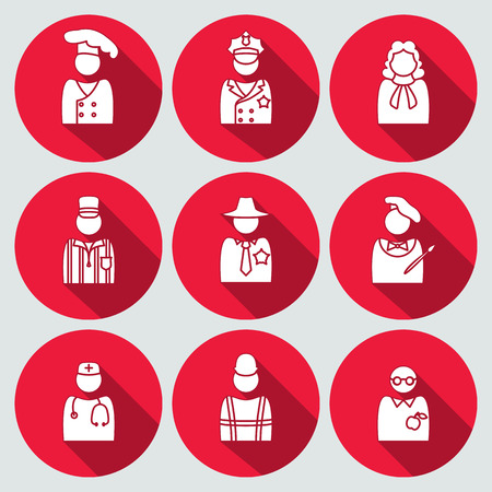 sherif: People profession avatar icon set. Judge, artist, referee, doctor, teacher, sherif, cook, builder, worker, policeman. Business symbols. White silhouette on round red button with long shadow. Vector