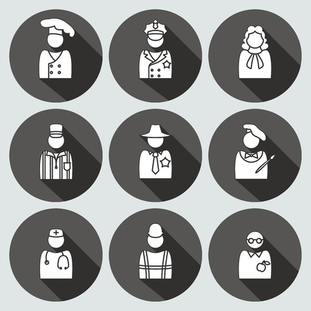People profession avatar icon set. Judge, artist, referee, doctor, teacher, sherif, cook, builder, worker, policeman. Business symbols. White silhouette on round gray button with long shadow. Vector Illustration