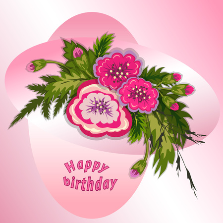 Floral composition. Bouquet of pink flowers on soft rose background. Happy birthday pattern for woman. Greeting card. Vector illustration