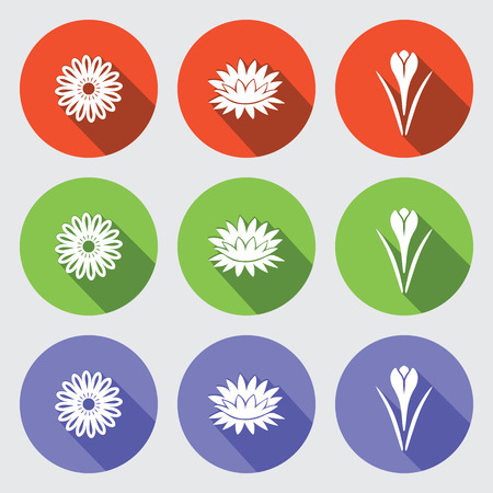 nymphaea: Flower icon set. Camomile, daisy, lily, water-lily, crocus, saffron. Floral symbol. White sign on round green, orange, lilac, flat buttons with long shadow light gray background. Vector isolated.