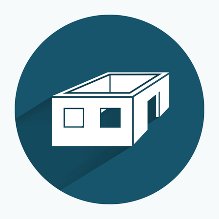 without window: House icon. Unfinished building without roof. Ownerless incomplete symbol. Round sign with long shadow. Flat design. Vector Illustration