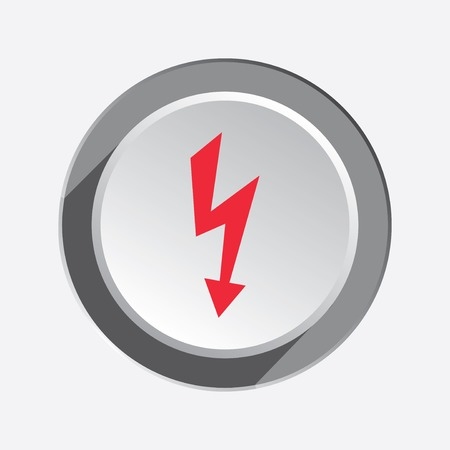 Lightning icon. Power energy symbol. Red sign on round three-dimensional white-gray button. Vector Illustration