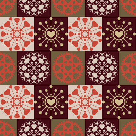 checked background: Christmas seamless pattern of heart snowflakes. New Year, Valentine day, birthday texture. Gold, green, brown, red colored signs on checked background. Winter, coffee, chocolate theme. Vector
