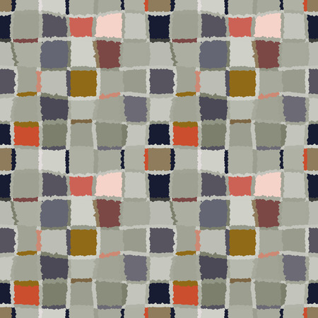 spliced: Seamless geometric mosaic checked pattern. Background of woven rectangles and squares. Patchwork, ceramic, tile texture. Cold, pastel, motley, gray, green, orange colors. Winter theme. Vector