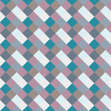 brindled: Seamless geometric checked pattern. Diagonal square, braiding, woven line background. Rhombus, patchwork, staggered figure texture. Light, blue, gray, turquoise, sea, soft colored. Winter theme. Vector