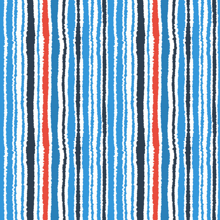 torn edge: Seamless striped pattern. Vertical narrow lines. Torn paper, shred edge texture. Contrast, blue, red, white colored background. Vector