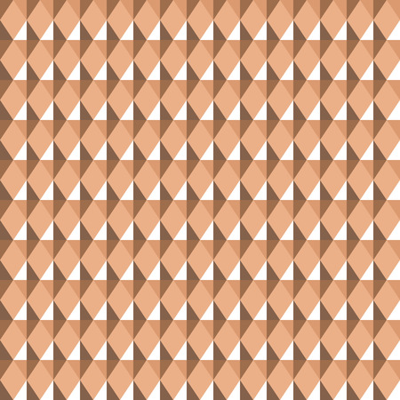 Seamless geometric pattern. Carbon texture. Rhombus convex light figures on beige, brown background. Chocolate, coffee with milk, honey theme. Shine, glitter colored. Vector Illustration