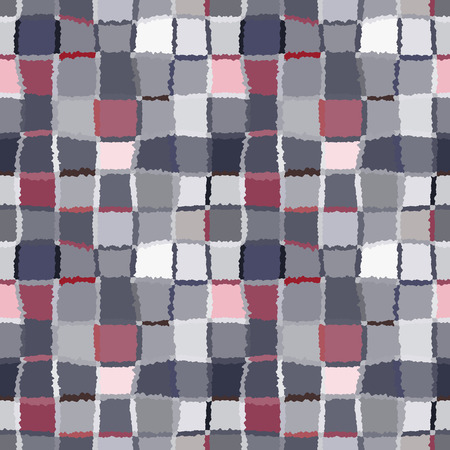 brindled: Seamless geometric mosaic checked pattern. Background of woven rectangles and squares. Patchwork, ceramic, tile texture. Cold, pastel, motley, gray, rose, blue, vinous colors. Winter theme. Vector