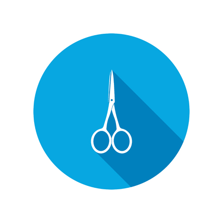 Scissors tool icon. Cut symbol. Round circle flat icon with long shadow. Vector