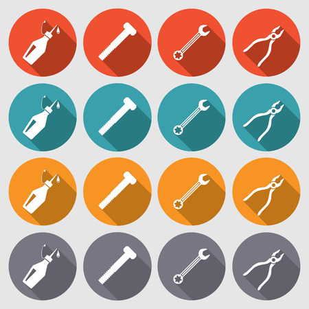 oilcan: Tools icons set. Glue, pliers, wrench key, screw bolt. Repair fix tool symbols. Round red, turquoise, orange, gray signs with long shadow. Vector