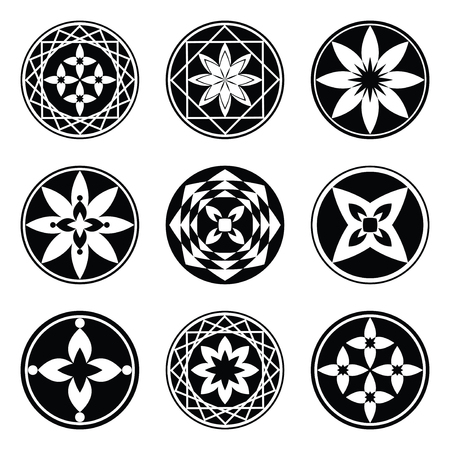black luck: Mandala elements, tattoo icon set. Star, floral stylized ornament. Black round signs. Harmony, luck, infinity symbol. Vector Illustration