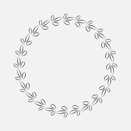 laurel leaf: Laurel wreath cicle tattoo. Black stylized ornament, cutting out leaf sign. Victory, peace, glory symbol. Vector