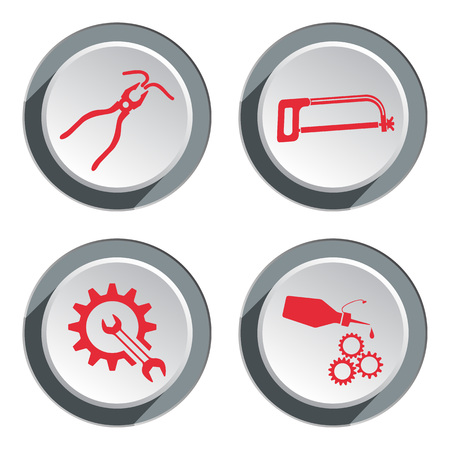 oilcan: Tools icons set. Saw, tongs, cogwheel, wrench key, glue with drop. Repair fix symbol. Red sign on round three-dimensional white-gray button. Vector Illustration