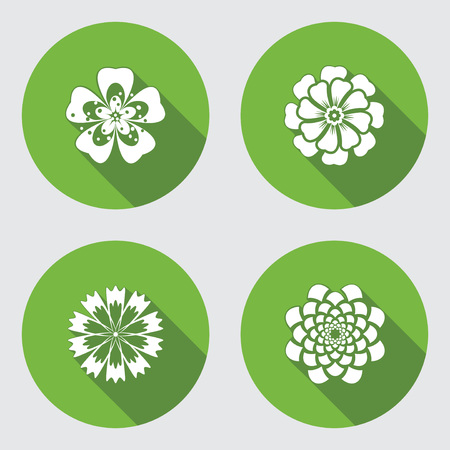 cornflower: Flower icons set. Chamomile, geranium, daisy, chrysanthemum, cornflower. Floral symbol. Round green flat icon with long shadow. Vector Illustration