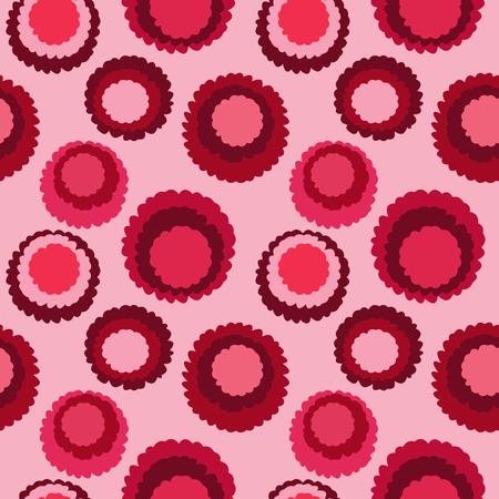 brindled: Abstract seamless dot, spotty pattern. Polka dot, motley texture. Circles with torn paper effect. Cold red colored. Winter theme. Vector Illustration