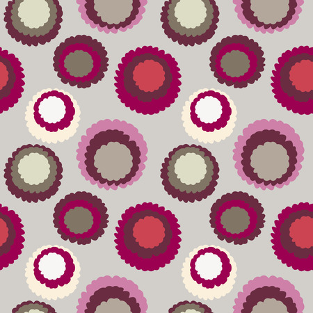 Abstract seamless dot, spotty pattern. Polka dot, motley texture. Circles with torn paper effect. Cold red colored. Winter theme. Vector Illustration