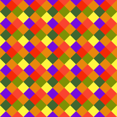 brigth: Seamless geometric pattern. Diagonal square, braiding, woven line background. Motley warm, brigth, variegated, baby, festival, clown, kitsch, holiday colored. Rhomb figure texture. Vector