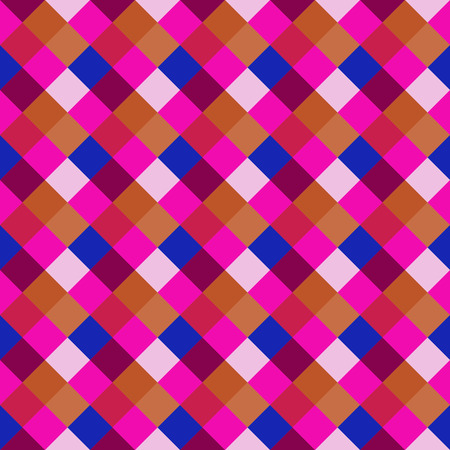 kitsch: Seamless geometric pattern. Diagonal square, braiding, woven line background. Motley cold, brigth, variegated, baby, festival, clown, kitsch, holiday colored. Rhomb figure texture. Vector Illustration