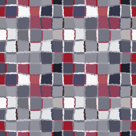 brindled: Seamless geometric mosaic checked pattern. Background of woven rectangles and squares. Patchwork, ceramic, tile texture. Cold, pastel, motley, gray, rose, blue, vinous colors. Vector