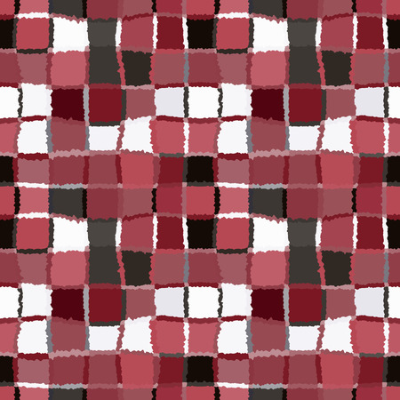 brindled: Seamless geometric mosaic checked pattern. Background of woven rectangles and squares. Patchwork, ceramic, tile texture. Cold, pastel, motley,  vinous, gray, rose, white colors. Vector Illustration