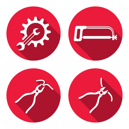 tongs: Tools icons set. Saw, pliers, tongs, cogwheel, wrench key, nippers. Repair fix symbols. White round circle signs with long shadow on red flat button. Vector