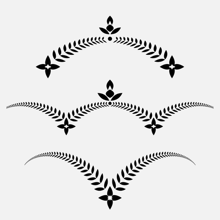cross and wings: Laurel wreath tattoo set. Decorative ornament with wings and cross. Victory, peace, glory, summit symbol. Black signs. Vector isolated