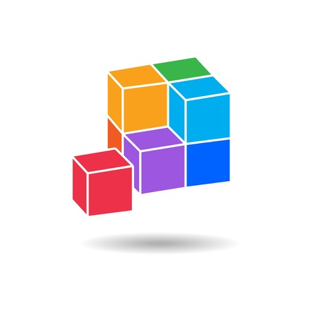 Cube composition icon. Perspective view. Pyramid of five blocks. Association, union, join, building, logo, project, game symbol. Infographic elements. Vector