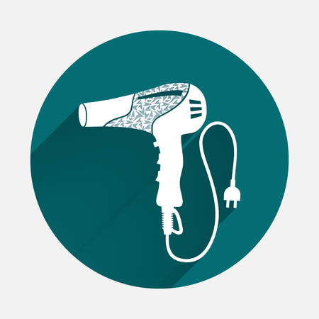 Professional blow hairdryer and two-pin plug icon. Turquoise, white colored sign on gray-blue button background. Round circle symbol. Vector Illustration