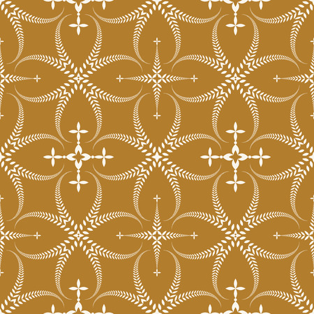 honouring: Seamless laurel wreath pattern. Curled, swirl stylized ornament with cross. Lace view texture. Ceremonial, remembrance, honouring theme. Light figure on gold background. Dark red colored. Vector